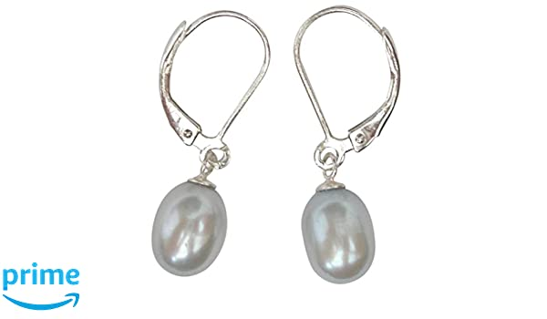 Cultured Freshwater Black Pearl Sterling Silver Leverback earrings presented in a pretty satin silk pouch with a gift card G0GEmA1V