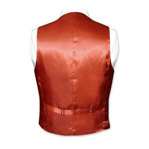 biagio menu0027s silk dress vest u0026 necktie solid burnt orange color neck tie set durable modeling