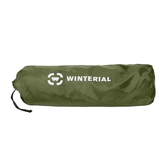 "Winterial Double Self Inflating Sleeping Pad with Pillows, Camping, Backpacking, Travel, 2 Person 7 THE ULTIMATE 2 person Sleeping Pad / Designed for 2 people / Convenient and Portable double sleeping pad FEATURES 2 built in pillows / Optimum Sleep / Less items to pack / Space Saving while you are traveling and in the tent. Camping made easy! DIMENSIONS: 72.8"" x 51.2"" x 1.2"" / Overall weight of 5.5 lbs! The lightweight solution to other competing double sleeping pads!"