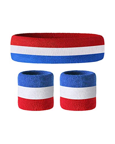 Awkward Styles Sweatband Set Yoga Wristband and Headband Perfect for Basketball Tennis Running Fitness - Retro Style Soft Cotton Red White Blue ()