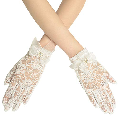 BABEYOND Floral Lace Gloves for Wedding Opera Party 1920s Flapper Lace Gloves Stretchy Adult Size (C-White)]()