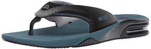 Reef Men's Fanning Prints Sandal, Black/Steel Blue, 6 M US