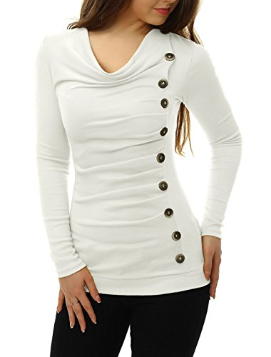 Allegra K Women Cowl Neck Long Sleeves Buttons Decor Ruched