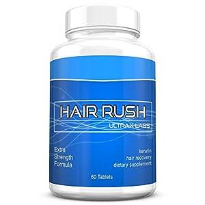 Ultrax Labs Hair Rush   Maxx Hair Growth & Anti Hair Loss Nutrient Solubilized Keratin Vitamin Supplement