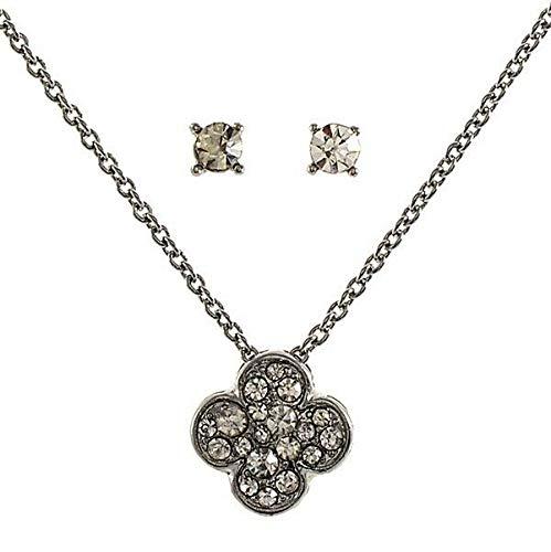 16 Clear Rhinestone 4 Leaf Clover Flower Silver Chain Necklace Earrings Set id-3109