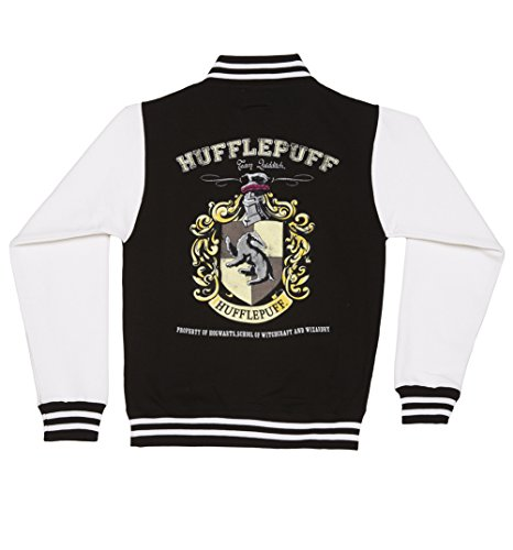 Womens Black Harry Potter Hufflepuff Team Quidditch Varsity Jacket,Black/Charcoal,Small