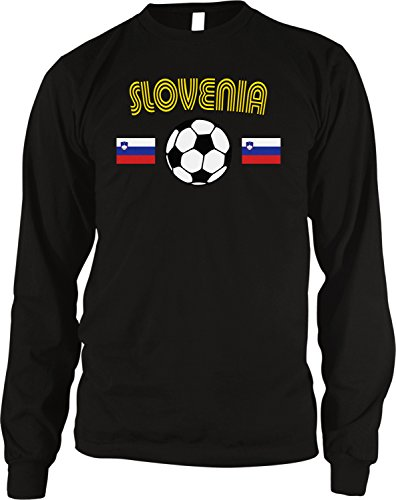 fan products of Slovenia Soccer / Football and Flag Men's Long Sleeve Thermal Shirt, Amdesco, Black 2XL