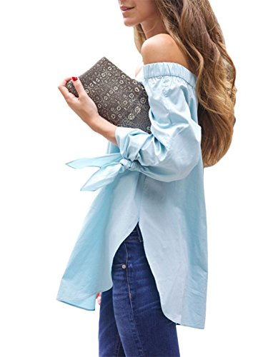 fe13f781dd2530 Kissky Women s Off The Shoulder Long Sleeve Knotted Top Blouse ...