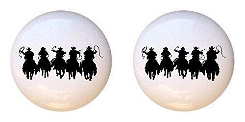 SET OF 2 KNOBS - Cowboys on Horses Silhouette - Cowboys Cowgirls - DECORATIVE Glossy CERAMIC Cupboard Cabinet PULLS Dresser Drawer KNOBS