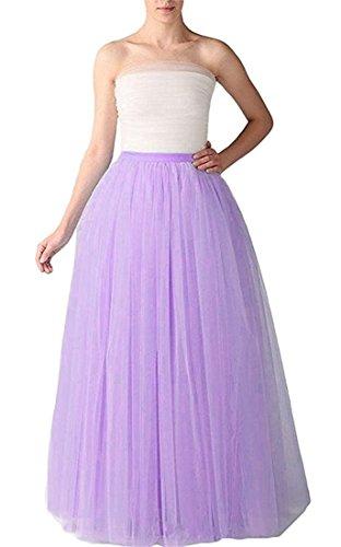 Omelas Women Long Maxi Tulle Skirt A-line Tutu Full Length Skirts Lilac by Omelas