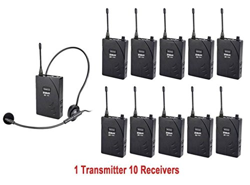 EXMAX UHF-938 UHF Acoustic Transmission Wireless Headset Microphone Audio Tour Guide System 433MHz for Church Translation Teaching Travel Simultaneous Interpretation- 1 Transmitter and 10 Receivers by EXMAX