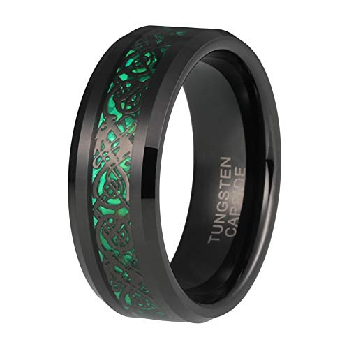 iTungsten 8mm Black Tungsten Carbide Rings for Men Women Wedding Bands Black Celtic Dragon Green Carbon Fiber Inlay Comfort Fit ()