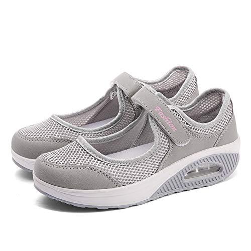 CARENURSE Women Ladies Nurse Shoes Toning Rocker Sneakers for Walking Work Fitness Grey