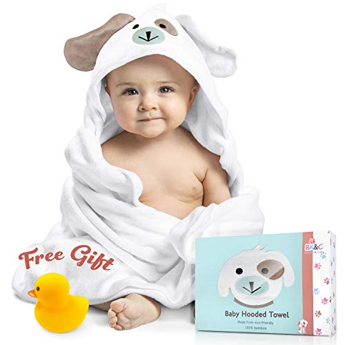 Baby Hooded Towel 100% Organic Bamboo Cotton. Super Absorbent, for Boys and Girls.White, Super Soft, X-Large, 35 x 35 inches. Perfect Baby Shower Gift with Bonus Washcloth and Greeting ()