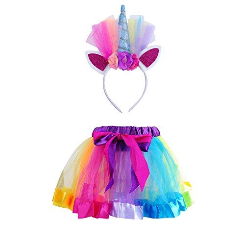 Unicorn Tutu Skirt and Unicorn Headband Outfit for Girls Birthday Party Costumes Set (M, Lake Blue) -
