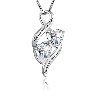 BLOVIN Sterling Silver Mother and Child Love Heart Pendant Necklace, Box Chain 18′