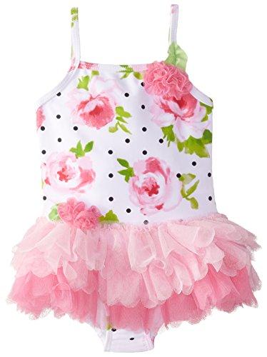 Kate Mack Little Girls' Toddler La Bella Rosa Skirted Tank, White/Pink, 4T