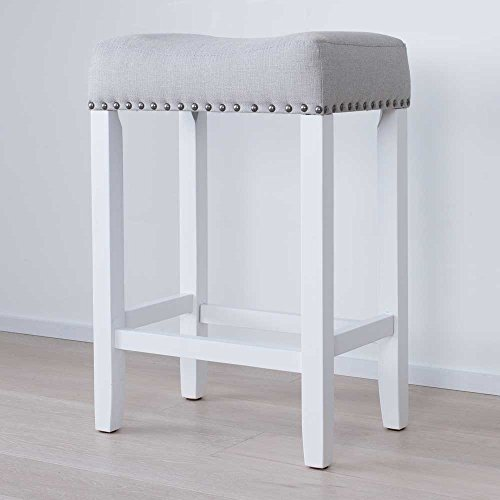 "Nathan James 21301 Hylie Nailhead Wood Pub-Height Kitchen Counter Bar Stool 24"", Gray/White"