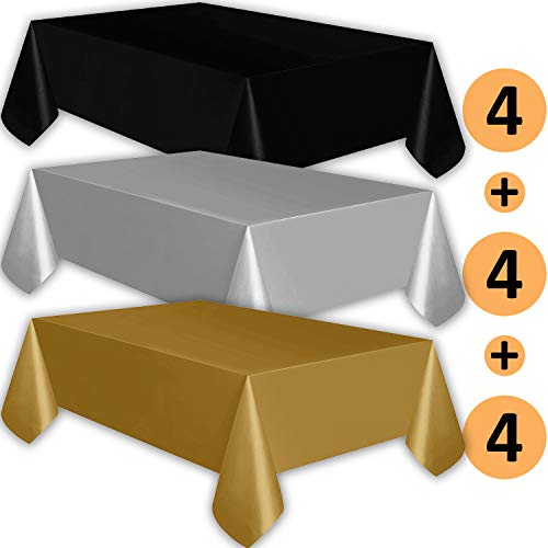 12 Plastic Tablecloths - Black, Silver, Gold - Premium Thickness Disposable Table Cover, 108 x 54 Inch, 4 Each Color -