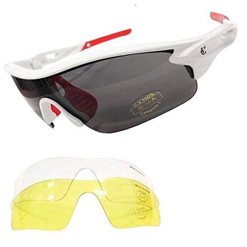 VeloChampion Warp Gafas de Sol (con 3 lentes: inc ahumado, claro) Blanco White Sunglasses Maxgear Limited 1815
