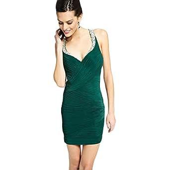 JVN by Jovani Womens Rhinestone Pleated Semi-Formal Dress Green 2