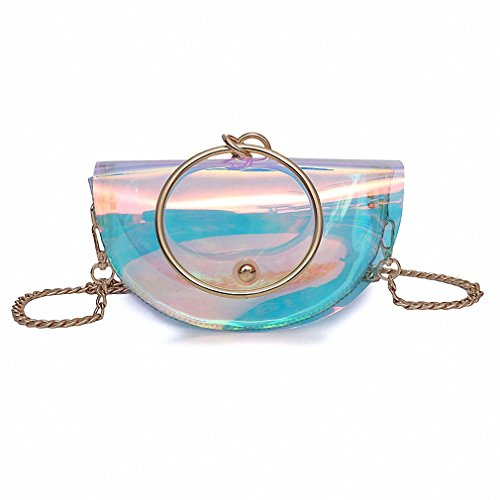 NEW Cute Shoulder Bag Hologram PVC Metal Circle Ring Handle Saddle Bag Fashion Ladies Messenger Bag Small Women Tote Handbag colorful Mini Max Length<20cm