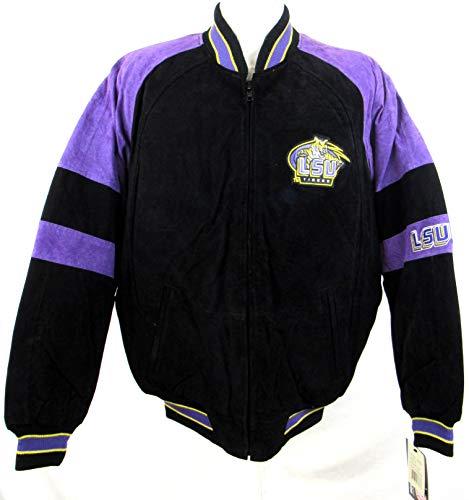 G-III Sports Mens Louisiana State University/LSU Tigers Logo Zip Up Suede/Soft Leather Jacket, Size Medium