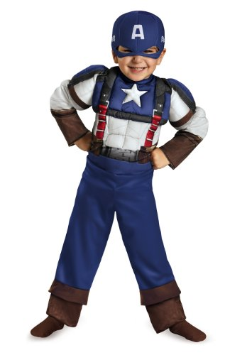 Disguise Marvel Captain America The Winter Soldier Movie 2 Captain America Retro Toddler Muscle Costume, Small (2T)