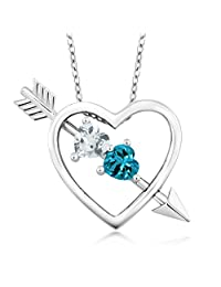 0.93 Ct Aquamarine London Topaz 925 Sterling Silver Heart & Arrow Pendant