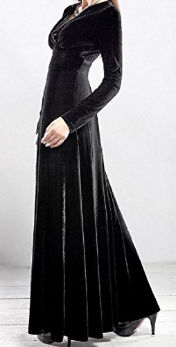 Evening Neck Comfy Women Dress Solid Sleeve Long V Velvet Black Gold Party AzRxwnRq6