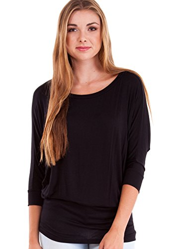 Womens Dolman (Ladies Black Dolman Style 3/4 Sleeve Long Hem Top, Black,)