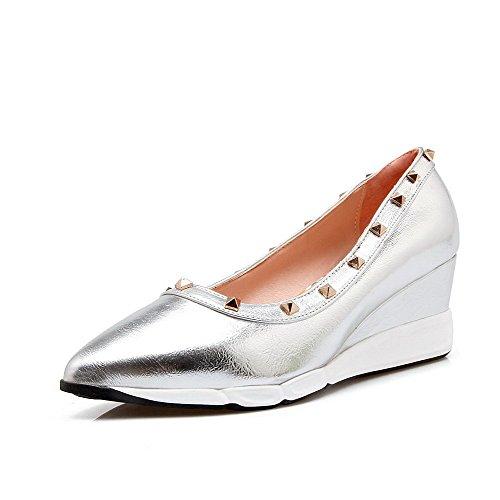 VogueZone009 Damen Rein Weiches Material Mittler Absatz Ziehen auf Spitz Zehe Pumps Schuhe Silber