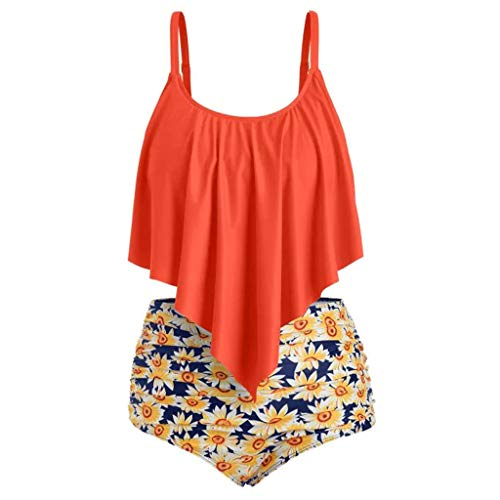 Swimsuit for Women Two Pieces Ruffled Top High Waisted Sunflower Print Bottom Bathing Suit Bikini Set (S, ()