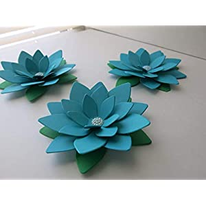 4 Inch Dark Teal Blue Lotus Paper Flowers Set of 3 Turquoise Water Lily Centerpiece Table Decor