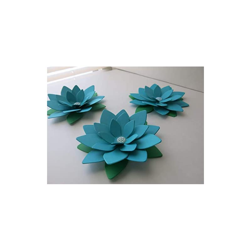 silk flower arrangements 4 inch dark teal blue lotus paper flowers set of 3 turquoise water lily centerpiece table decor