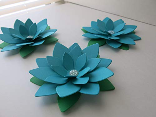 4 Inch Dark Teal Blue Lotus Flowers, Set of 3 Turquoise Water Lily Centerpiece Table Decor