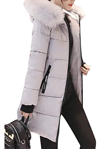 Collar Duster Women's Padded Coat XINHEO Longline Fluffy Grey Thickening 7vxw1qt