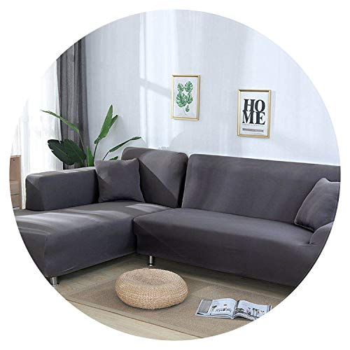 Sofa Cover Cotton Slipcover Elastic Couch Cover Sofa Covers for Living Room Fit L-Shape Corner Sectional Sofa (Need Order 2PCS),Color 24,4-Seater 235-300cm (Karlstad Corner Sofa 2 3 3 2)
