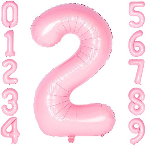 40 Inch Large Number Balloons Pink Mylar Foil Big Number 2 Giant Balloon Birthday Party Decoration -