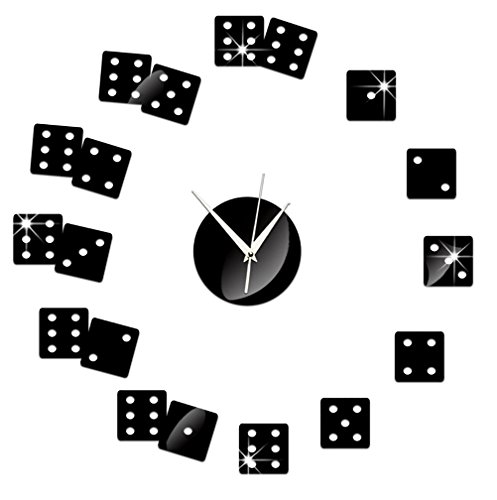 DIY Wall Hanging Clock Decal Murals ChezMax 3D Dices Wallpaper Sticker For Home Decorations