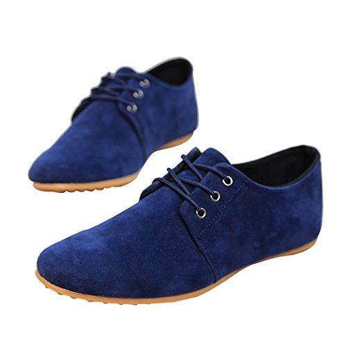 Sun Lorence Mens Flats Mocassins En Cuir Suédé Business Casual Chaussures Bleu