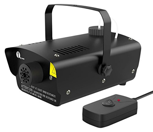 Fog Machines - 1byone Halloween Fog Machine with Wired Remote Control, 400-Watt Smoke Machine for Holidays, Parties, Weddings, Black