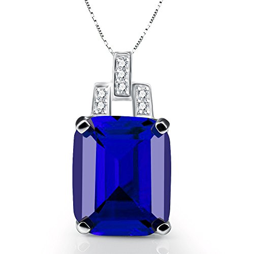 (ANGG Women 9.4ct Big Blue Sapphire Necklace Pendant 925 Sterling Silver Jewelry)