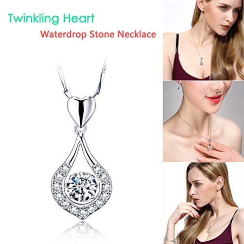 Necklace Twinkling Heart Waterdrop Stone Necklace Women Sterling Silver Pendant Necklace Pendant Cut Beads Ball Chain for Women Charm Jewelry by Wabaodan