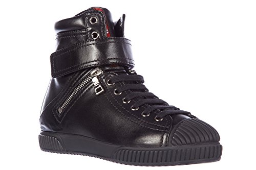 Prada women's shoes high top leather trainers sneakers nappa black US size (Prada Nappa Leather)