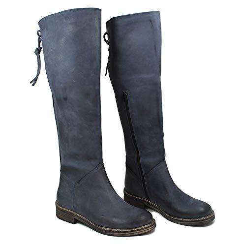In Nabuk Time 0456 Blu Con Made Alti Al Biker Stivali Polpaccio Pelle Boots Lacci Donna Italy Vera qRqrA6