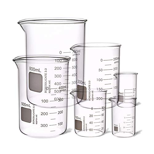 6 Pcs Heavy Duty Low Form Graduated Beakers Measuring Beaker Set Borosilicate Beaker Lab Beaker Industrial & Scientific labware Beakers Laboratory Beaker 25ML 50ML 100ML 300ML 500ML 800ML(6)
