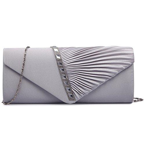 Miss Lulu Satin plisado para noche fiesta, boda, bolso de mano 6682 Elegant Diamante Clutch Silvery