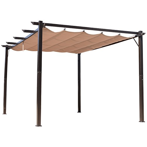 10ft Aluminum Frame (Outsunny 10' x 13' Steel Outdoor Pergola Gazebo Backyard Canopy Cover)