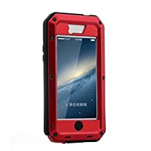 R&MAO-iPhone 5C Case, Extreme Waterproof/Shockproof Dust/Dirt Proof Aluminum Metal Gorilla Glass Protection Case Cover Military Heavy Duty Protection Cover Case for Apple iPhone 5C(Red)